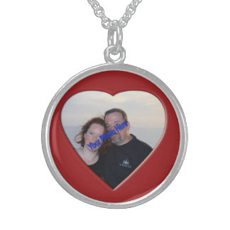 Personalized Photo Heart Shaped Round Pendant Necklace