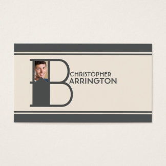 Personalized Photo Initial Letter B Monogram Business Card