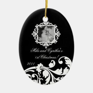 Personalized Photo Ornament Black White Floral