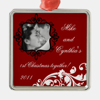 Personalized Photo Ornament Crimson Red Floral