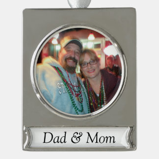 Personalized Photo Ornament with Text Silver Plated Banner Ornament
