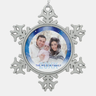 Personalized Photo Ornaments | Pewter Snowflake