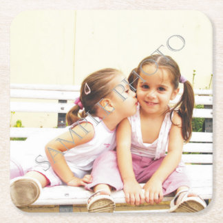 Personalized photo paper coaster. Make your own! Square Paper Coaster