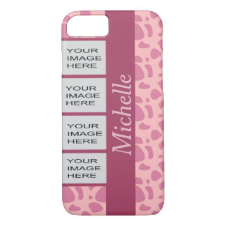Personalized Photo Pink Animal Print iPhone 7 Case