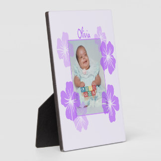 Personalized Photo Purple Floral Display Plaque