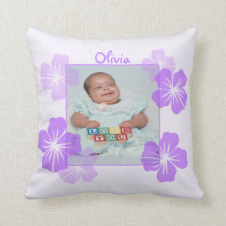 Personalized Photo Purple Floral Throw Pillow