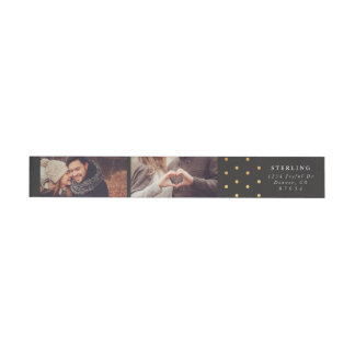 Personalized Photo Return Address Label | Gold Dot Wraparound Return Address Label