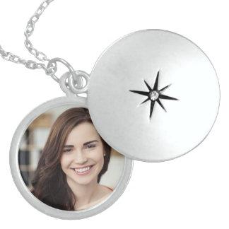 Personalized photo round locket necklace