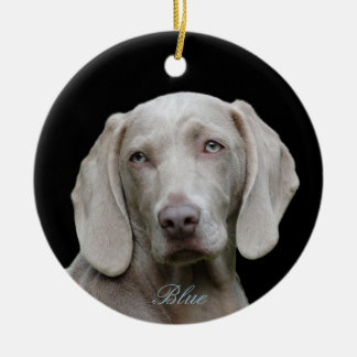Personalized Photo with Blue Eyed Weimaraner Christmas Ornament