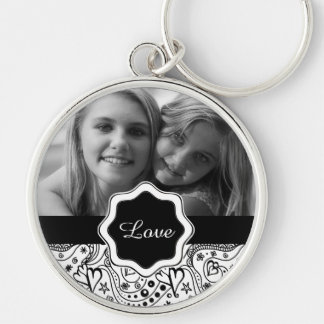 Personalized Photo with Hearts Love Doodle Pattern Key Ring