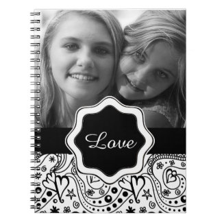 Personalized Photo with Hearts Love Doodle Pattern Notebooks