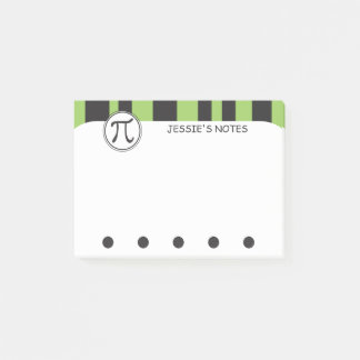 Personalized Pi Symbol Math Themed GREEN Post-it Notes