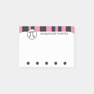 Personalized Pi Symbol Math Themed PINK Post-it Notes
