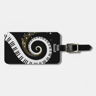Personalized Piano Keys and Gold Music Notes Luggage Tag