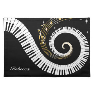 Personalized Piano Keys and Gold Music Notes Placemats