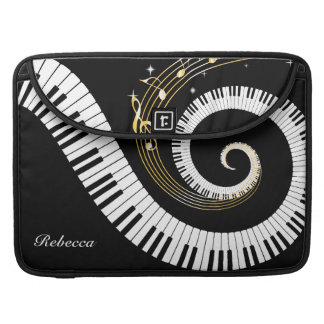 Personalized Piano Keys and Gold Music Notes Sleeve For MacBooks