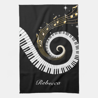 Personalized Piano Keys and Gold Music Notes Tea Towel