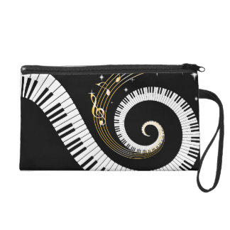 Personalized Piano Keys and Gold Music Notes Wristlet Clutch