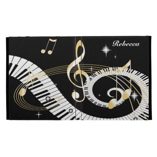 Personalized Piano Keys and Golden Music Notes iPad Case