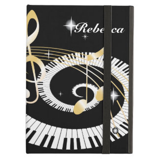 Personalized Piano Keys and Golden Music Notes Case For iPad Air