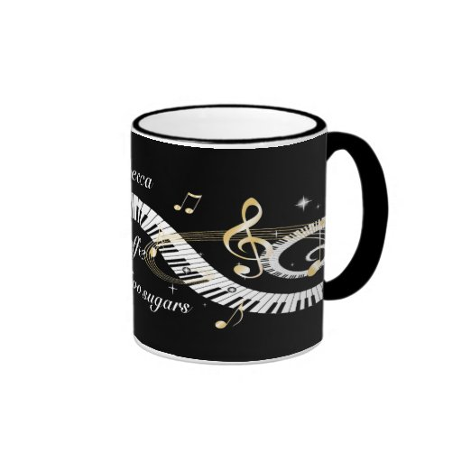 Personalized Piano Keys and Golden Music Notes Mugs