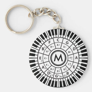 Personalized Piano Keys Circle of Fifths Basic Round Button Key Ring