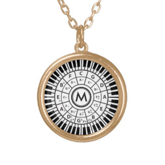 Personalized Piano Keys Circle of Fifths Round Pendant Necklace
