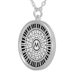 Personalized Piano Keys Circle of Fifths Silver Plated Necklace