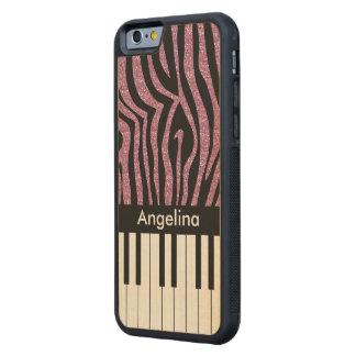 Personalized Piano Keys Pink Glitter Zebra Print Maple iPhone 6 Bumper Case