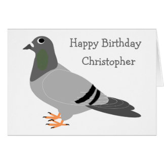 Personalized Pigeon Design Birthday Card