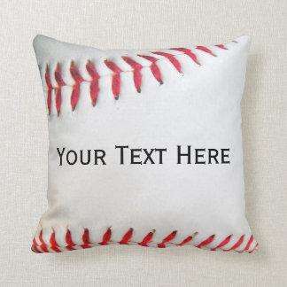 Personalized Pillow White Baseball red stitching
