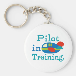 Personalized Pilot in Training Basic Round Button Key Ring