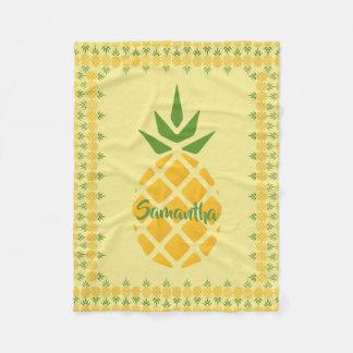 Personalized Pineapple, Editable Yellow Background Fleece Blanket