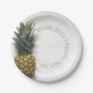 Personalized Pineapple Party Picnic Paper Plates