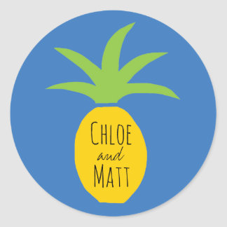 Personalized Pineapple Wedding Favor Stickers