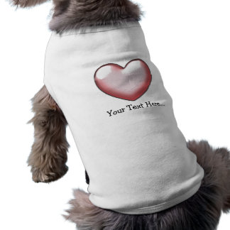 Personalized Pink 3D Love Heart Sleeveless Dog Shirt
