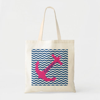 Personalized Pink Anchor & Navy Zigzag Tote Bag
