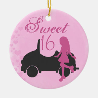 Personalized Pink and Black Car Sweet 16 Sixteen Christmas Ornament