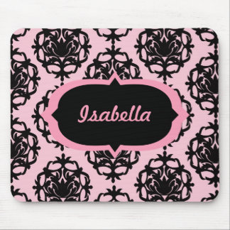 Personalized Pink and Black Damask Mousepad