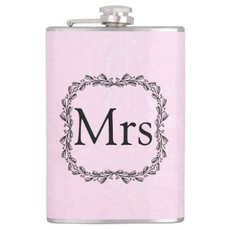 Personalized  PInk and Black Mrs Flask