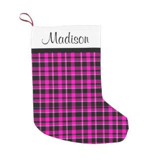 Personalized Pink and Black Plaid Tartan Small Christmas Stocking