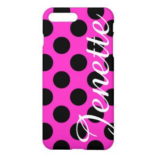 Personalized Pink and Black Polka Dots iPhone 7 Plus Case