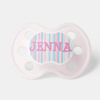 Personalized Pink and Blue Striped Baby Pacifier