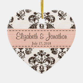 Personalized Pink and Brown Vintage Damask Wedding Christmas Ornament