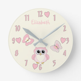 Personalized pink and cream Owl Butterfly Round Clock