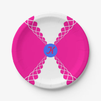 Personalized Pink and Purple 7 Inch Paper Plate