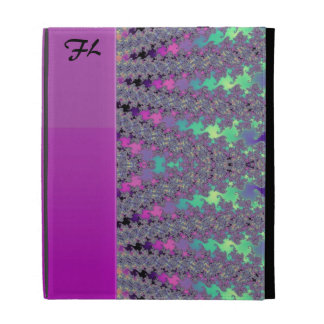 Personalized Pink and Rainbow Pastel Fractal Case iPad Folio Cover