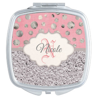 Personalized Pink and Silver Glitter Travel Mirrors