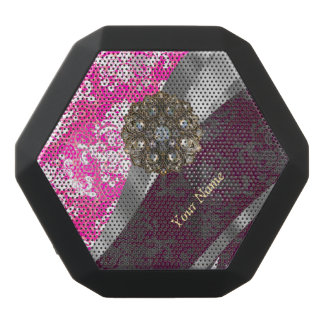 Personalized pink and white damask pattern black bluetooth speaker