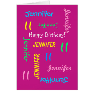 Personalized Pink Any Name, 11th Birthday Pink Card
